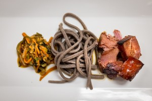Seared tuna with udon noodles and ponzu sauce